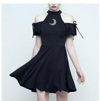Women Punk Gothic Black Stargazer Crescent Moon Mini Dress Cold Shoulder Short