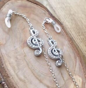 Musical Silver Finish Crystal Treble Clef Music Spectacle Glasses Chain.Free P&P