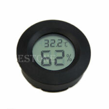 Digital Cigar Humidor Hygrometer Thermometer Round Black Face