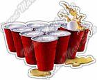 "Beer Pong Cups Game Bar Restaurant Alcohol Car Bumper Vinyl Sticker Decal 5""X4"""