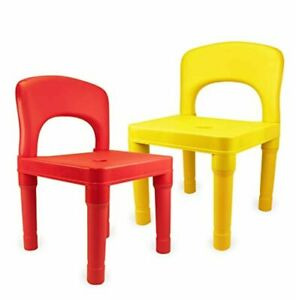 Plastic Kids Chairs for School, Daycare, Home, Indoor and Outdoor Use - Set of 2