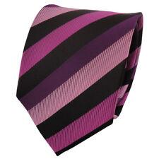 Schicke Krawatte magenta fuchsia violett dunkelrosa schwarz gestreift - Binder