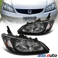 For 2004 2005 Honda Civic Sedan/Coupe Black Headlights Replacement Lamps Set
