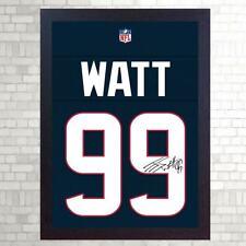 J.J. Vatios Houston Texans firmado T-Shirt lienzo enmarcado de 100% algodón