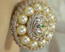 Beautiful SAC Sarah Signed Vintage 60's Rhinestone Faux Pearl Clip Earrings350D5