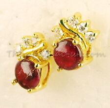 9k Gold Stud Earrings Real Ruby Fine Jewelry Thai Craftsmanship Vintage