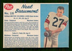 NEAL BEAUMONT 1962 POST CFL 1962 NO 135 VGEX+  25627