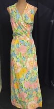 AUTHENTIC VINTAGE 70s WRAP Skirt Dress FLORAL By Conception Swirl Size Vtg 12