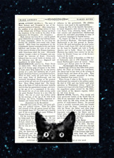 Amusing Nosy Black Cat Head Print Vintage Dictionary Page Wall Art Upcycled