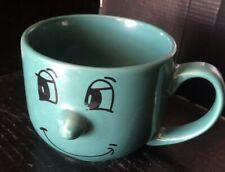 Coffee Tea Mug Cup Smiley Face Livingware Collection 3D Nose Green