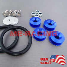 Blue JDM CNC Quick Release Fasteners For Car Bumpers Trunk Fender Hatch Lids Kit