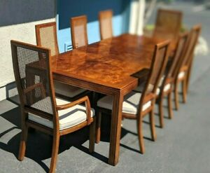 Vintage HENREDON DINING Set 8 CAMPAIGN Caned Chairs PARSONS Table Burlwood