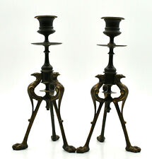 Pair Candle Holders Bronze Tripods Pattern Animalier~Art Nouveau