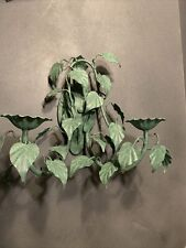 Vintage Italian Toleware Candle Sconce Green Ivy Wrought Iron Garden Decor Chic