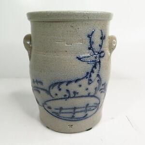 "Rowe Pottery Crock Cambridge WI Salt Glaze Blue Cobalt Deer & Trees 7 1/8"" Tall"