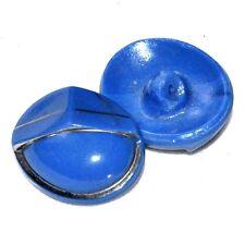 bouton ancien ovale en verre bleu traits argentés 23mm button