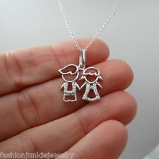 Son Daughter Two Kids Necklace - 925 Sterling Silver - Pendant Family Twins NEW