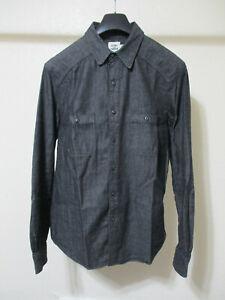 Flint and Tinder Washed Black Denim Crossback Work Shirt - Medium