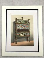 1862 Print Renaissance Revival Ornate Cabinet Chest Antique Chromolithograph