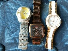 Lot 3  womens ladies watches  copper Invicta yellow white  Guess need batteries
