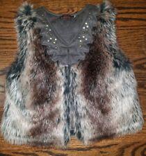 *Reversible* Catamini Girls ombre Leather& Fur Vest sz 4 bling stud design