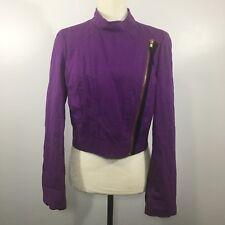 Women's BCBG MAXAZRIA Zip Purple Jacket Small Blazer Rayon Blend