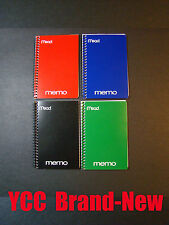 Mead Spiral Memo book, ruled 40s', open side, Assorted cover color, 6x4in, 4 pk