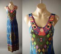 Colorful Beaded Bib Collar Tribal Goddess Ethnic Long Maxi 276 mv Dress S M L