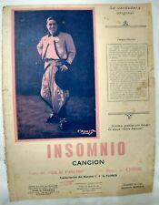 Carlos Gardel Cover Insomnio Original Tango Sheet Music Argentina 1940s