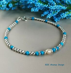 TURQUOISE Bracelet  blue faceted beads 925 Sterling Silver cultured pearl