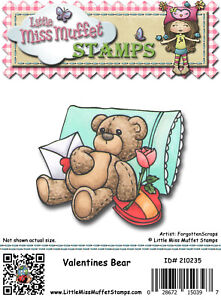 VALENTINES BEAR Little Miss Muffet Stamps Rubber Cling NEW