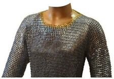 Chain Mail Shirt Flat Riveted Solid Ring Hauberk Brass Riveted Galvanized Long