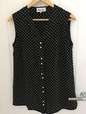 100% Pure Silk Ladies Top Black/ White Dots Size S Plus 10 Brand New