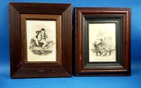 Angling Humorous Print Antique Old Fishing Picture Got A Bite & Scoundrel Angler