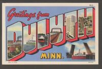 [68583] OLD GREETINGS from DULUTH, MINNESOTA LARGE LETTER POSTCARD