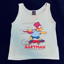 Vintage 1990 The Simpsons Bartman Skateboarding Teal Tank Top Womens Size S/M