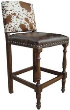 Cowhide Bar Stools, Barstool + Distressed Wood Frame + Brass Nails +$350