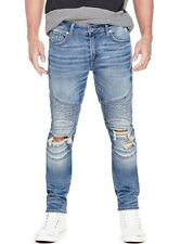 Guess Men's Embroidered Star Moto Skinny Jeans With Destroy Size 32