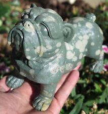 A++ 165mm Natural Leopard Skin Jasper  Crystal Carving Art Dog