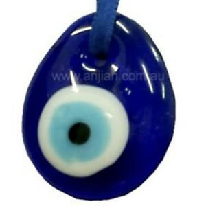 Blue Lamp Work Glass Evil Eye Protection Charm Drop Pendant Hanging 35mm(HH013)