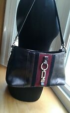 Etienne Aigner Purse Shoulder Bag Black Leather w/Black and Burgundy Suede Panel