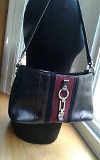 Etienne Aigner Purse Shoulder Bag Black Leather w/Black and Burgundy Suede Panel