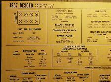 1957 DeSoto EIGHT Series Firedome & Fireflite Models 341 CI V8 Tune Up Chart