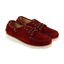 Sebago Poncho Mens Red Suede Casual Dress Lace Up Ronnie Fieg Shoes