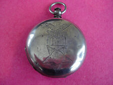 Coin Silver~18s~KW~Watch Case~Engraved ~ Grand Army of Republic Decoration