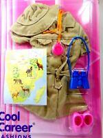 BARBIE DOLL SAFARI MINT PACK VTG BINOCULARS SHOES MAP CLOTHES MATTEL 1996