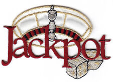 """""""JACKPOT"""" IRON ON EMBROIDERED PATCH - DICE -GAMBLING, LAS VEGAS"""