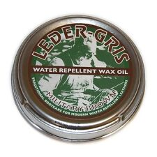 NEW - Leder Gris Wax Oil BROWN Army Altberg Boot Polish - Large 80 gram Tin