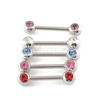 """10 pcs 14G 12mm (1/2"""") Double 5mm Gem Tongue Barbell Surgical Steel Nipple Ring"""
