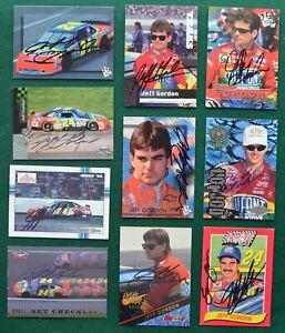 Jeff Gordon Autograph racing card lot (10) - DuPont Valvoline NASCAR #24 AUTO